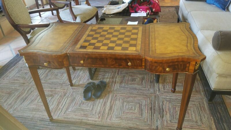 Federal Style leather top games table chess backgammon desk 50x25x30 pullouts