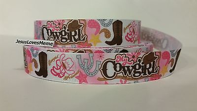 Grosgrain Ribbon, My Cowgirl Princess Boots Hats Horseshoes Paisley Stars - Cowgirl Princess