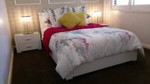 White Double Bed, Mattress, Bedsides and Quilt Cover Set