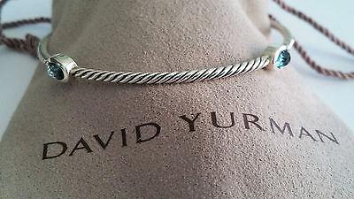 David Yurman - Sterling Silver 4 Station Blue Topaz Bangle Bracelet - Mint!