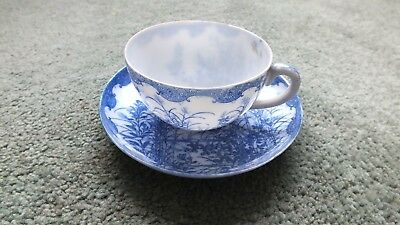 Antique Chinese Cup & Saucer Blue & White (saucer 12.5 cm wide)