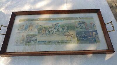 1920s Glazed Oak Tray with Original Widecombe Fair Print