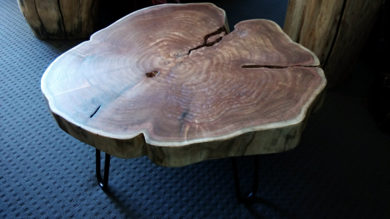 Bespoke Tree Trunk White Cedar Coffee Table With Living Edge