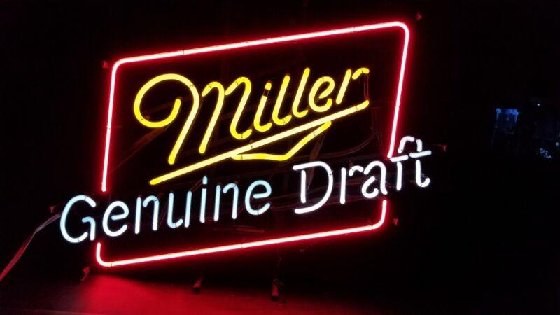 "VINTAGE MILLER GENUINE DRAFT NEON SIGN BEER MILLER BREWING 30"" x 25"""