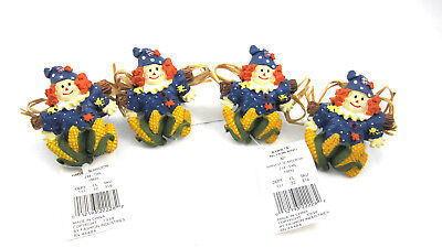 Harvest Scarecrow Napkin Rings Set Of 4 Corn On The Cob Straw New Old Stock 1998