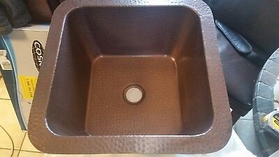 Whitehaus WHCOLV1414‑OBH Copper Square Bath Copperhaus Sink Hammered Bronze  Bronze Square Kitchen Sink