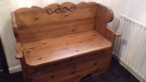 Solid Pine Carved Monks Bench / Church Pew With Storage