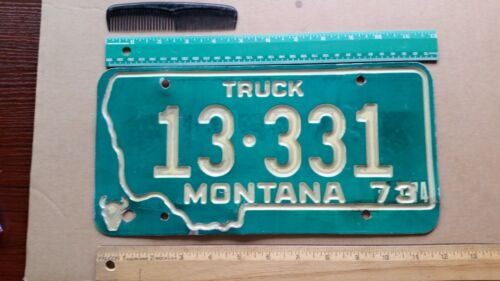License Plate, Montana, 1973, Recessed Lettering, Truck, Palindrome, 13331