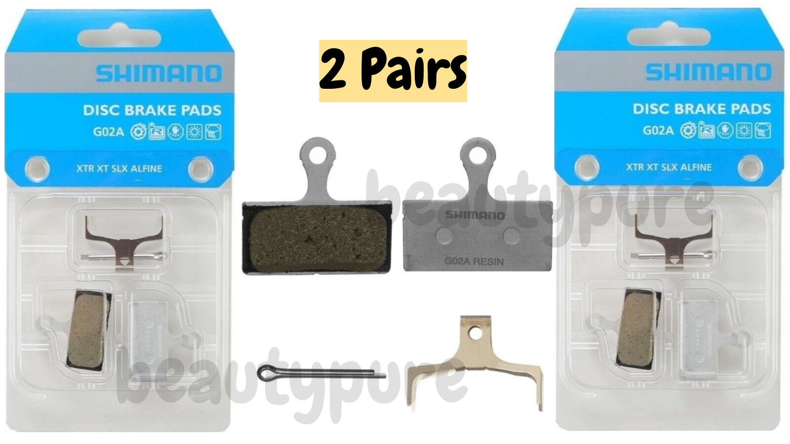 2 Pairs Shimano G02A Resin Disc Brake Pad Pair /& Spring XTR BR-M9020 NIB