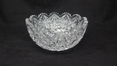 ANTIQUE AMERICAN BRILLIANT PERIOD DEEP CUT GLASS BOWL WITH  HOBSTARS...