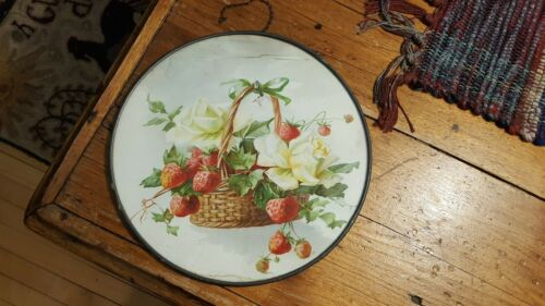 Antique Glass Cover CHIMNEY FLUE COVER Basket of Strawberries, Chain Hanger