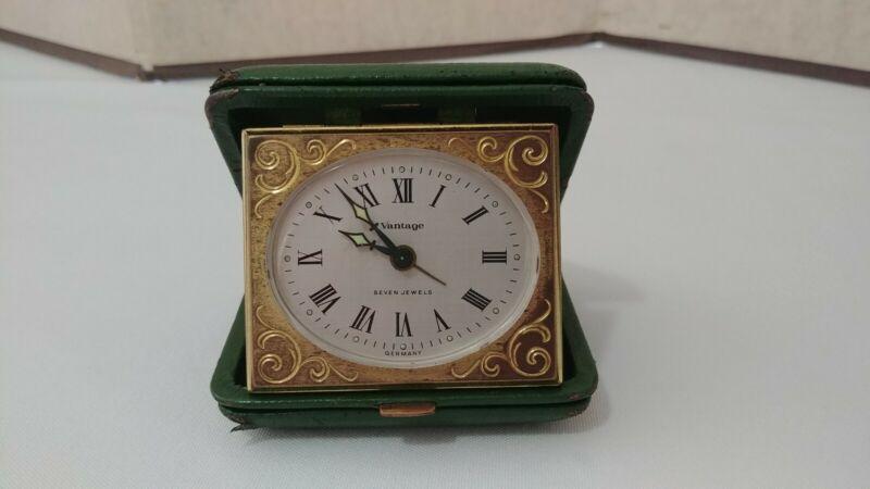 Vintage VANTAGE Tourist Travel Alarm Clock Wind Up 7 Jewels Leather Case Germany