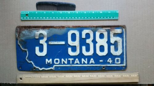 License Plate, Montana, 1940, Stamped PRISON MADE, 3 - 9385