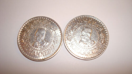 Lot of Two(2) 1956 Morocco Silver 500 Francs - Excellent, You Grade Them (#8gb5)