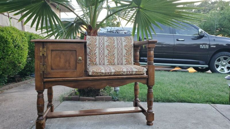 Antique /Vintage Carved Solid Wood Telephone Table Bench Chair