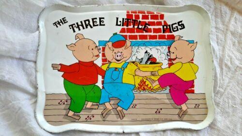 THREE LITTLE PIGS TIN TOY SERVING TRAY OHIO ART CO 419A175 WOLF NURSERY VINTAGE
