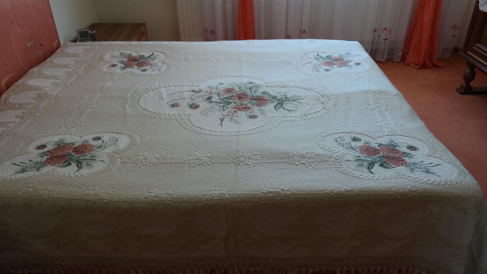 Größe Tagesdecke Bettüberwurf  Decke  220 x 250 Blumenstraus natur Vintage