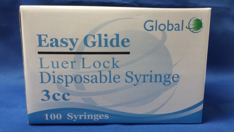 50 - 3cc LUER LOCK SYRINGES 3mL STERILE BOX OF 50 NEW!! SYRINGE ONLY NO NEEDLE