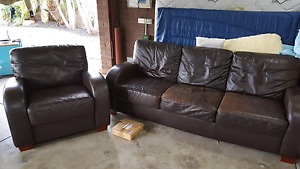 Leather lounge brown Kidman Park Charles Sturt Area Preview