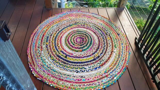 120cm Round Jute String Rag Rugs