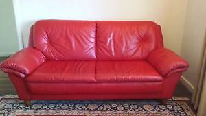 RED LEATHER SOFA South Fremantle Fremantle Area Preview