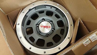 "TOYOTA TACOMA FJ CRUISER TRD 16"" Off Road Beadlock Style Wheels BAJA GREY NEW 5"