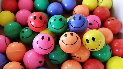 100 - New Smiley Face High Bounce Balls - Super Color - 27mm  Party Vending Kids