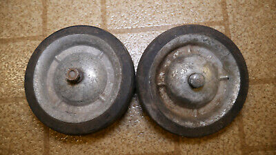 Set Of 2 Rare Vintage Gray Metal 5x1 Wagner Of Milwaukee Caster Wheels Tires