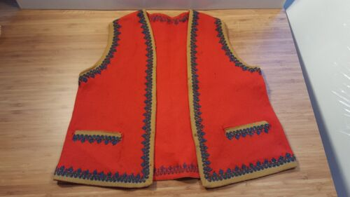 VTG Red Felt Vest BOY CHILD Made in ITALY 1900s Traditional Wear BLUE TRIM