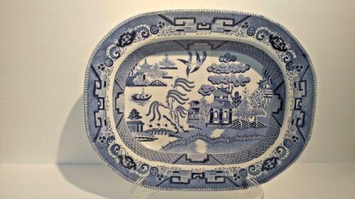 Antique English Staffordshire Wedgewood Blue  White Platter 13 1/2 x 11 inch  #1