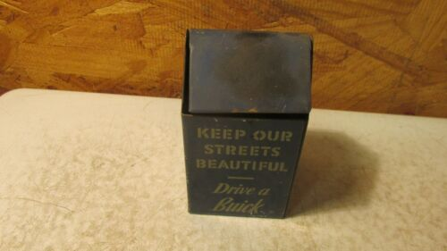 """Old """"Drive a Buick"""" Metal Trash Can Counter Display"""
