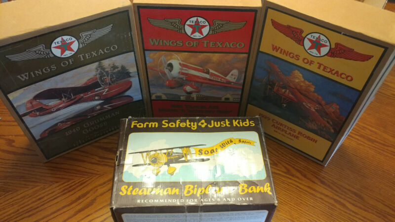 Lot of (4) Metal Planes - WIngs of Texaco & Farm Safety - Original Boxes