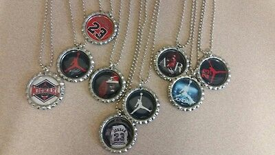 Michael Jordan Bottle Cap Necklaces jumpman party favors lot of 9 - Michaels Party Supply