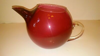 Glass Teapot Cranberry Glass with Clear Handle
