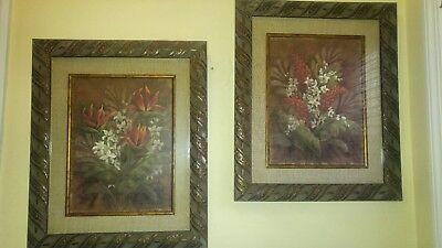 2 Large Art Floral Print Vivian Flasch Matted & Framed  2 Large Framed Print