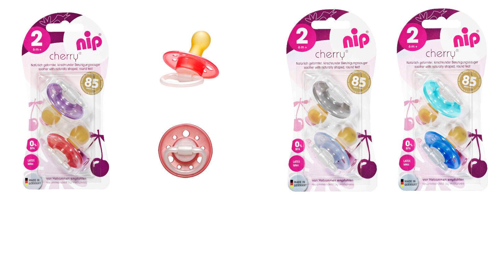 6x Nip Cherry Schnuller Latex ab 0 Monate 6Stk. Girl/Boy  Kirschform/Tropfenform