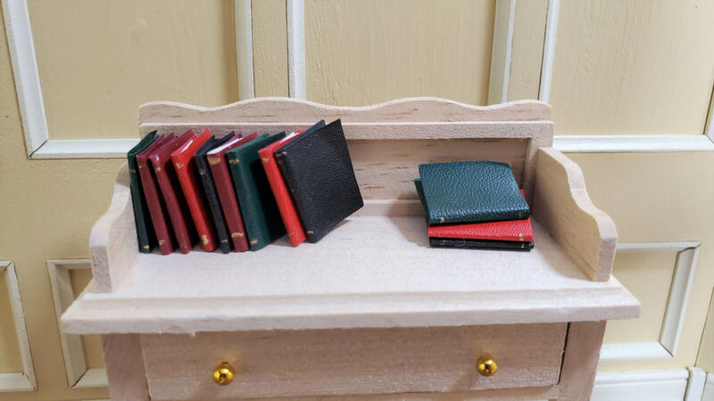 "Dollhouse Miniature Books 12 Piece Narrow Book Set 3/4"" tall 1:12 Scale"