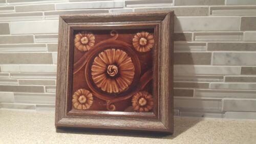 """Antique 6"""" Architectural - Floral Fireplace Tile - Framed"""