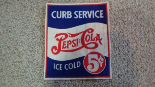 PEPSI COLA  SODA  CURB SERVICE ICE COLD SODA BACK PATCH  OLD NEW STOCK  BX W