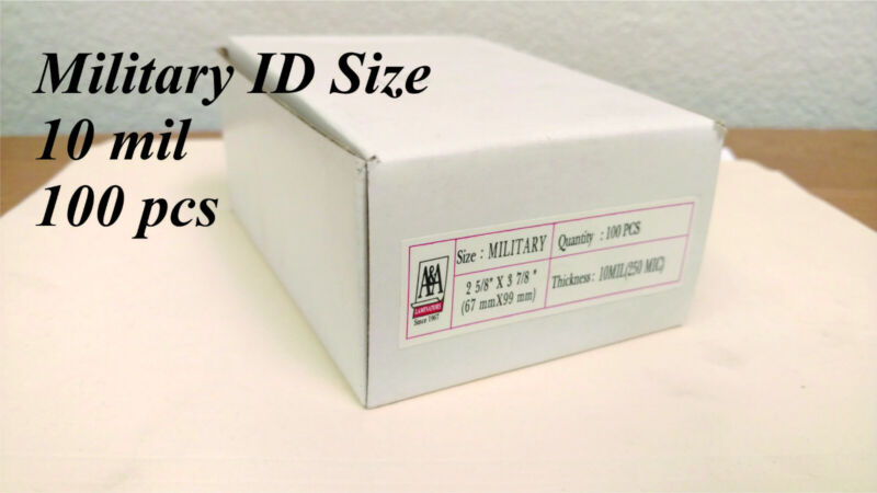 Military ID 10 mil 100 Pieces FREE SHIPPING Laminating Pouches Thermal