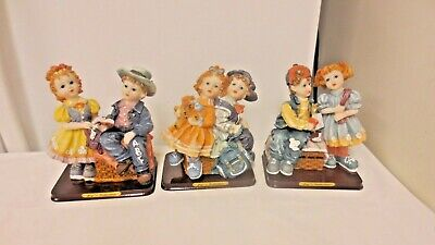 Lot 3 Joy's Collection Various Boy/Girl Matte Figurines on Base-All Different