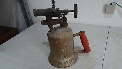 Vintage Lenk  Brass/metal Gas/Kerosene Blow Torch with Wood Handle FREE SHIP!!!