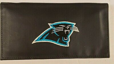 Carolina Panthers Embroidered Leather - NFL Carolina Panthers Genuine Leather Checkbook Cover, New (Embroidered Logo)
