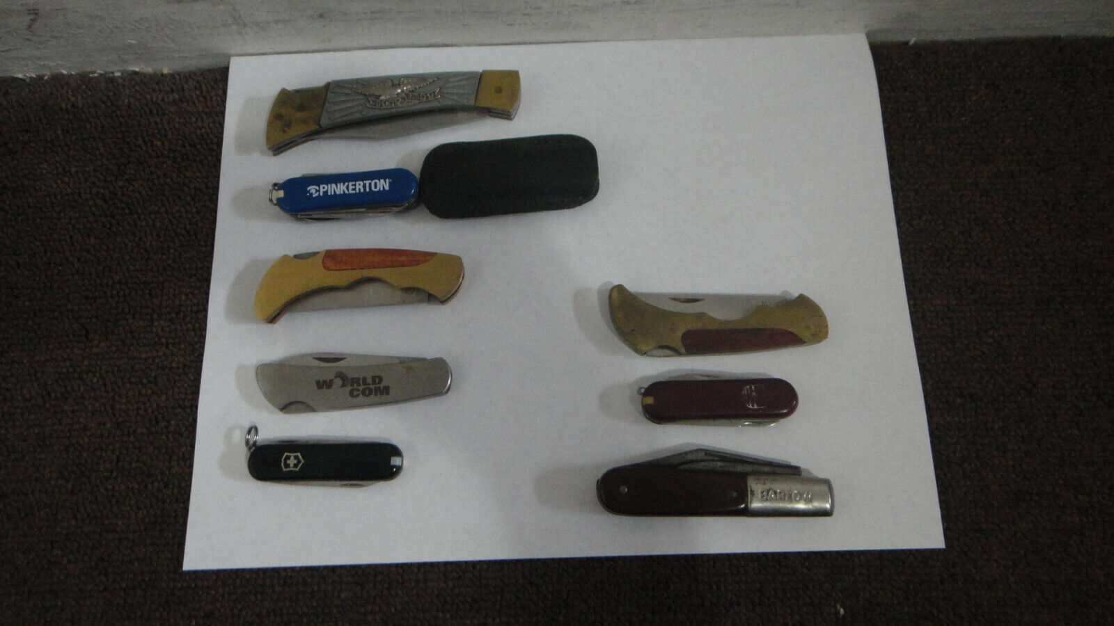Vintage Pocket Knives Lot Of 9 BARLOW Advertising US Commemorative LOOK