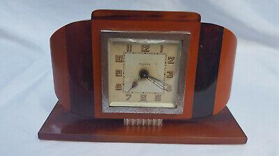 ART DECO CATALIN 1930's BAYARD FRANCE BAKELITE ALARM CLOCK EXCELLENT CONDITION !