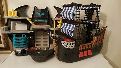 Fisher Price Imaginext Batman Bat Cave & Pirate Ship playset