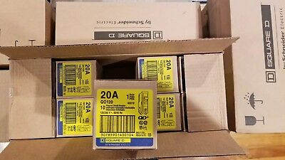 Square D Qo120 New Plug-in Circuit Breaker 20a 1 Pole 120 Vac 34 Box Of 10