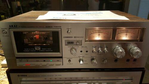 RARE Vintage Akai GXC-750D Stereo Cassette Deck 3 HEADS/3 MOTORS +Manual