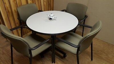 Cafe Table Mobile Gray Laminate With Four Fabric Chairs