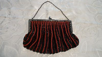 Antique Glass Beaded Purse Red & Black for  Repair